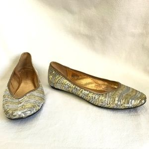 Nine West Gold and Silver Sequin Flats